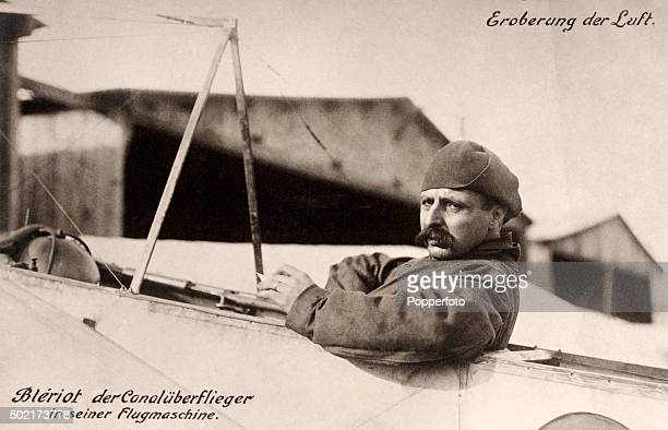 A vintage postcard featuring the French aviaton pioneer Louis Bleriot in his monoplane circa 1910