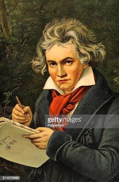 A vintage postcard featuring the German composer Ludwig van Beethoven circa 1750