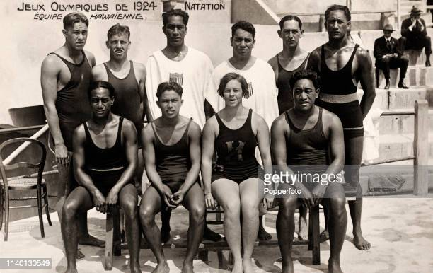Vintage postcard featuring the Hawaiian swimmers, part of the USA swimming team including Duke Kahanamoku (back row, third left, during the Summer...