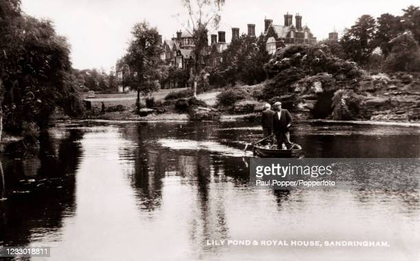 Vintage postcard featuring the lily pond and Royal house at Sandringham in Norfolk, published in Great Yarmouth, circa 1910.