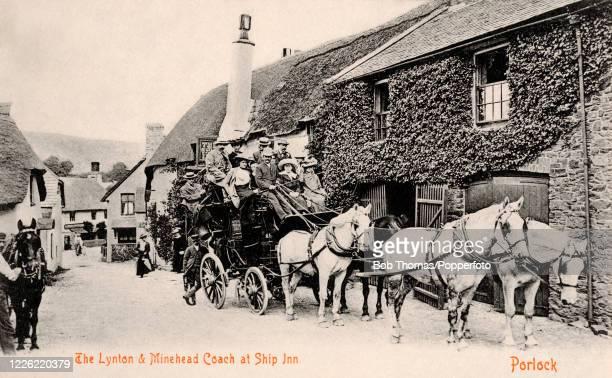 Vintage postcard featuring the Lynton & Minehead Coach outside the Ship Inn at Porlock in Somerset, circa 1900.