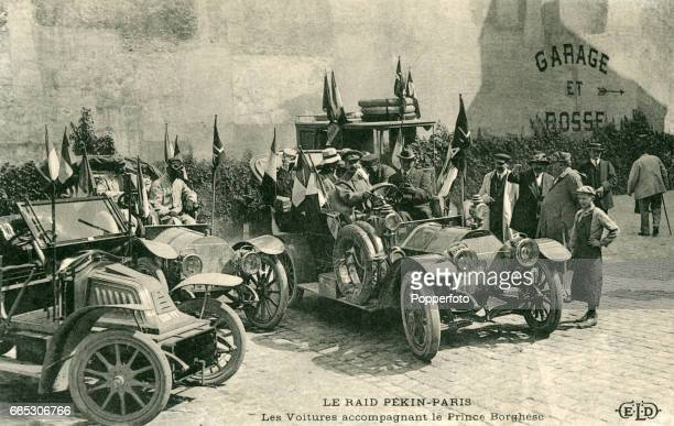 A vintage postcard featuring the Peking to Paris race somewhere in France circa August 1907