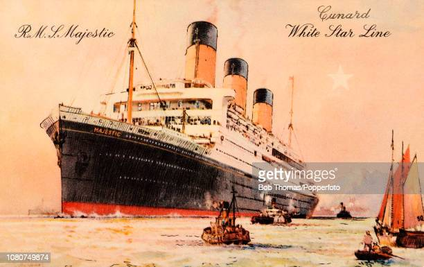 A vintage postcard featuring the RMS Majestic of the Cunard White Star Line originally the SS Bismarck of the HamburgAmerika Line the largest ship in...