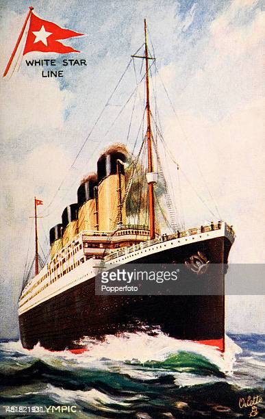 A vintage postcard featuring the RMS Olympic the White Star Line's mail and passenger service between Southampton Cherbourg Queenstown and New York...