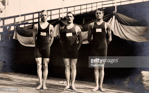Vintage postcard featuring the Swedish medallists in the high diving event during the Summer Olympic Games in Stockholm Sweden circa July 1912 Left...
