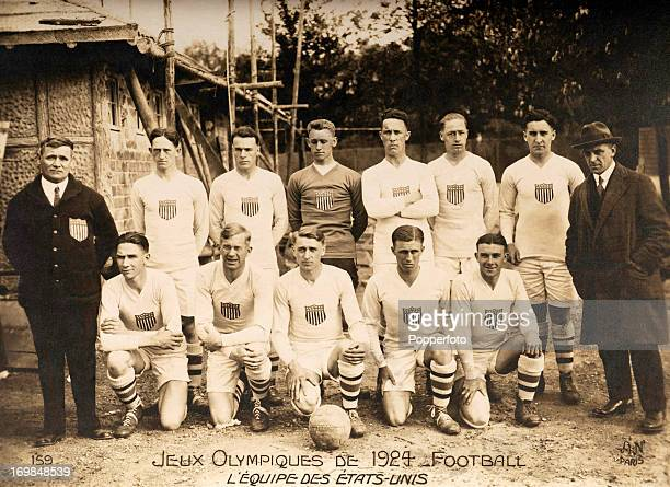Vintage postcard featuring the United States football, or soccer, team at the Summer Olympic Games held in Paris, circa May 1924. They lost to...