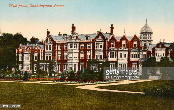 Vintage postcard featuring the West Front of Sandringham House in Norfolk, a royal residence, published in London, circa 1910.
