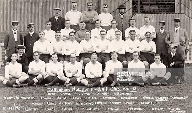 A vintage postcard featuring Tottenhan Hotspur football club circa 1912 Back row left to right J Over Charlie Rance John Joyce Tom Morris and AH...