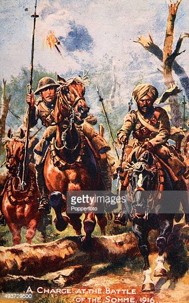 A vintage postcard illustraion featuring British and Indian soldiers on horseback at the Battle of the Somme during World War One circa 1916