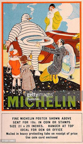 A vintage postcard illustration advertising a Michelin Man poster featuring details of its purchase size and use and the poster itself with a family...