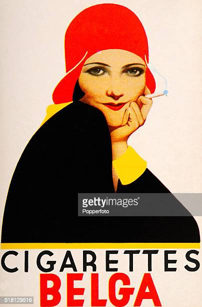 A vintage postcard illustration advertising Belga cigarettes and featuring a stylish young woman wearing a cloche hat and holding a cigarette circa...