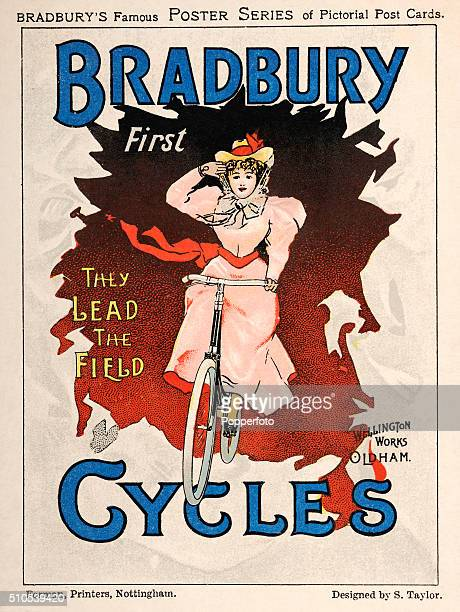 A vintage postcard illustration advertising Bradbury Cycles in a poster series featuring a stylish young woman riding a bicycle circa 1900