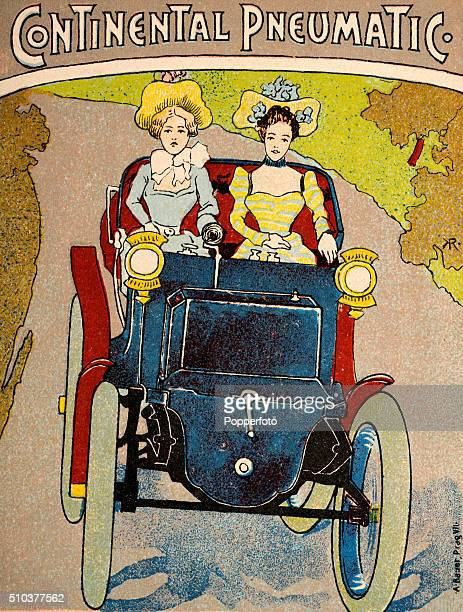 A vintage postcard illustration advertising Continental tyres and featuring two fashionably dressed young ladies in a vintage motorcar circa 1895