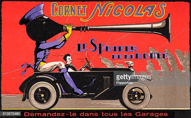 A vintage postcard illustration advertising Cornet Nicolas a classic automobile horn manufactured in France featuring a woman motorist and a figure...