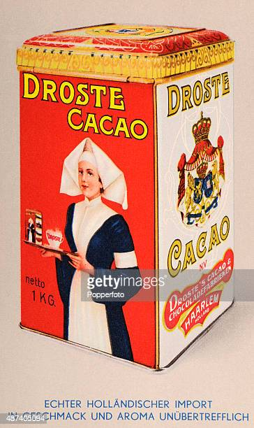 A vintage postcard illustration advertising Droste Cacao featuring a tin with a tray carried by a nurse and an elaborate crest in Holland circa 1925