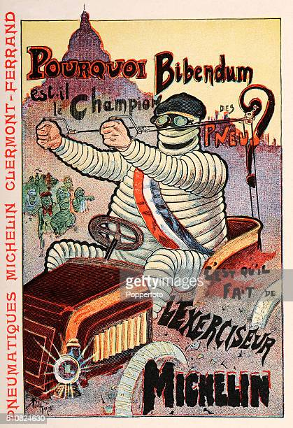 A vintage postcard illustration advertising Michelin tyres and featuring the Michelin Man at the wheel of a vintage automobile driving through the...