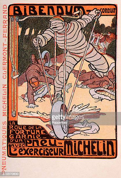 A vintage postcard illustration advertising Michelin tyres featuring the MIchelin Man with a winged tyre passing all cycling opponents over an...