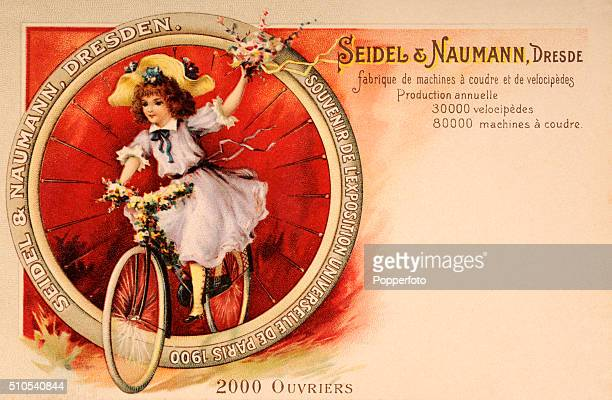 A vintage postcard illustration advertising Seidel Naumann Bicycles and Sewing Machines of Dresden as exhibited at the Universal Exposition in Paris...