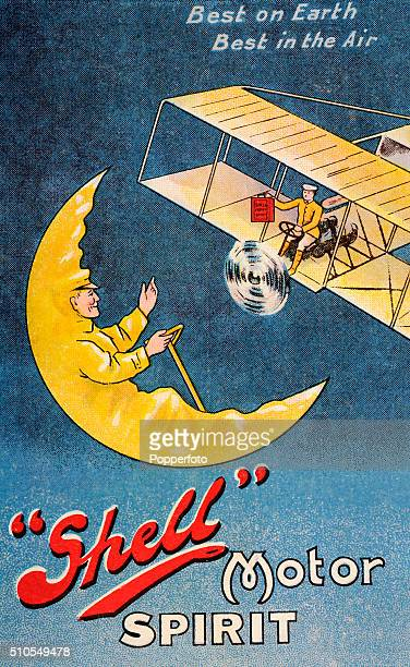 """Vintage postcard illustration advertising Shell Motor Spirit featuring a biplane, a man driving a half-moon. And the motto """"Best on EarthBest in the..."""