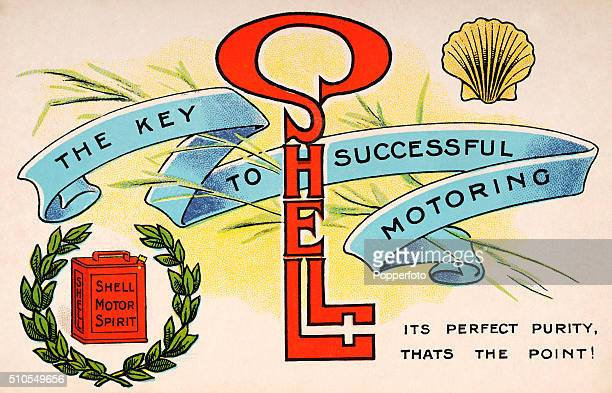 Vintage postcard illustration advertising Shell Motor Spirit featuring a gasoline tin, a scallop shell, laurel leaves and the word Shell in the shape...