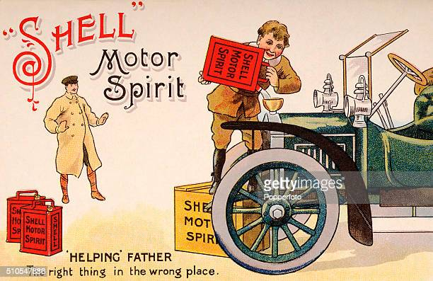 Vintage postcard illustration advertising Shell Motor Spirit and featuring a young boy filling the family motorcar with the product, but pouring it...