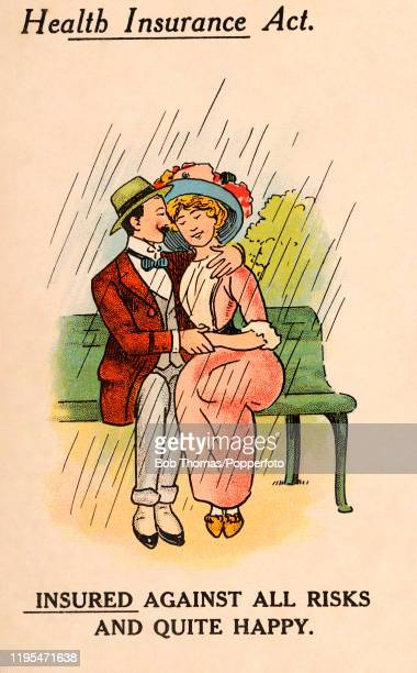 A vintage postcard illustration advertising the Health Insurance Act and featuring a happy couple insured against all risks sitting on a park bench...
