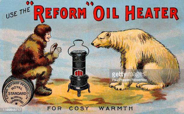 A vintage postcard illustration advertising the Reform Oil Heater and featuring a polar bear and a furclad Arctic native seated on a barrel of...