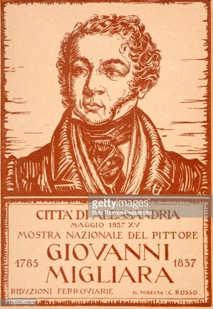 A vintage postcard illustration announcing an exhibition of the work of Italian painter Giovanni Migliara in Alessandria the city of his birth on the...