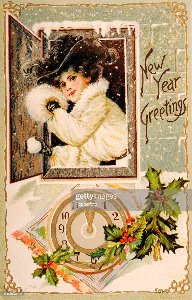 happy new year greetings vintage illustration news photo