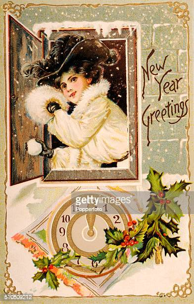 A vintage postcard illustration bringing Happy New Year greetings and featuring a stylish young lady about to throw a snowball out of a window over a...