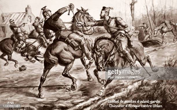 Vintage postcard illustration by British artist EM Sansom featuring a battle involving the Uhlan or German cavalrymen and the Spahis of Morocco,...