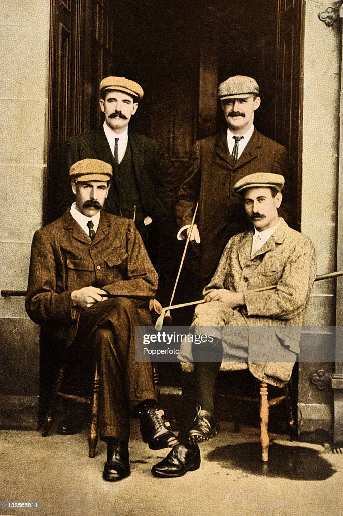 Vintage postcard illustration dated 1905 featuring John H Taylor (back, right) the first English professional to win the Open, James Braid (front left), best remembered for outstanding play in the Open. Harry Vardon (front, right) who won the British and American Open and Sandy Herd (back, left), winner of the British Open in 1902. This photograph was taken prior to their International Challenge match at St Andrews with prize money of £400 for the winner.