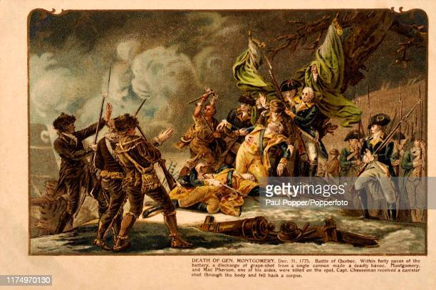 Vintage postcard illustration depicting the Batte of Quebec and the death of American General Richard Montgomery, whose passing was mourned on both...