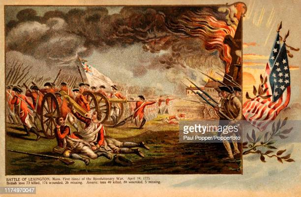 Vintage postcard illustration depicting the Battle of Lexington, Massachusetts, the first blood spilled during the American Revolutionary War, on...