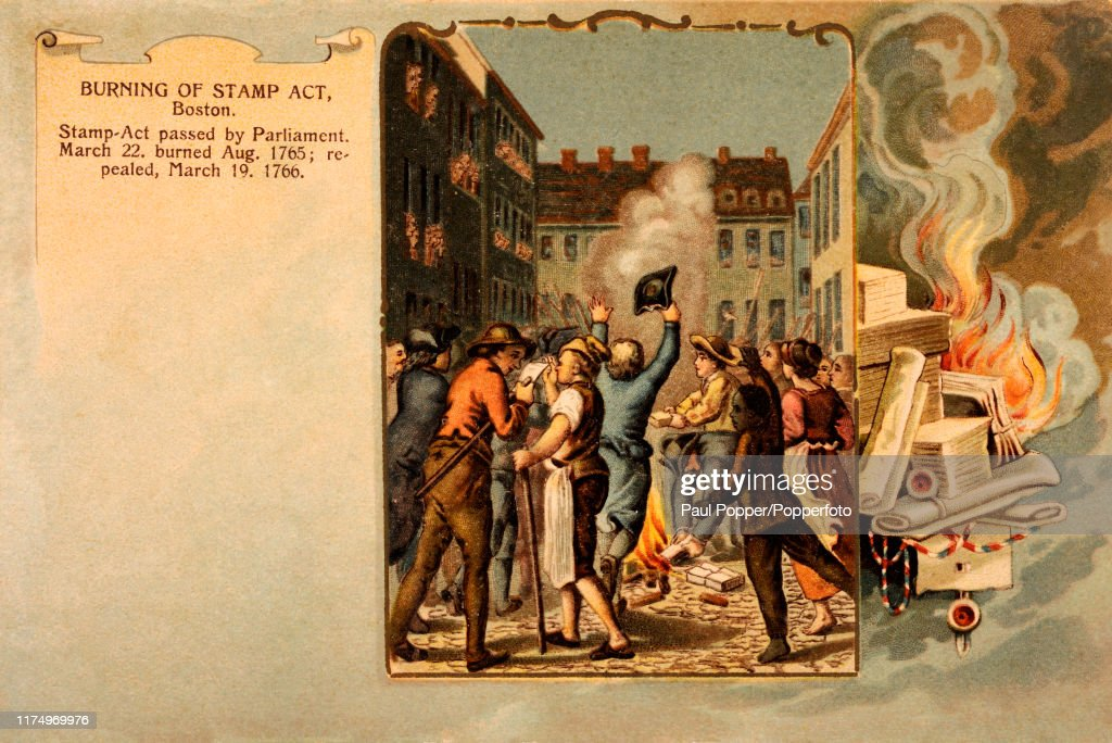 Burning Of The Stamp Act In Boston - Vintage Postcard Illustration : News Photo
