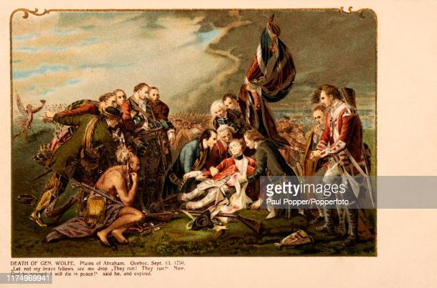 A vintage postcard illustration depicting the death of British General James Wolfe on the Plains of Abraham in Quebec Canada during the Seven Years'...