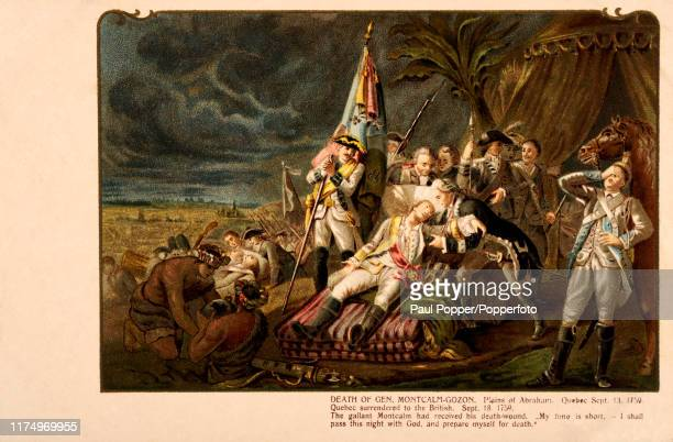 A vintage postcard illustration depicting the death of French General LouisJoseph MontcalmGozon on the Plains of Abraham in Quebec Canada during the...