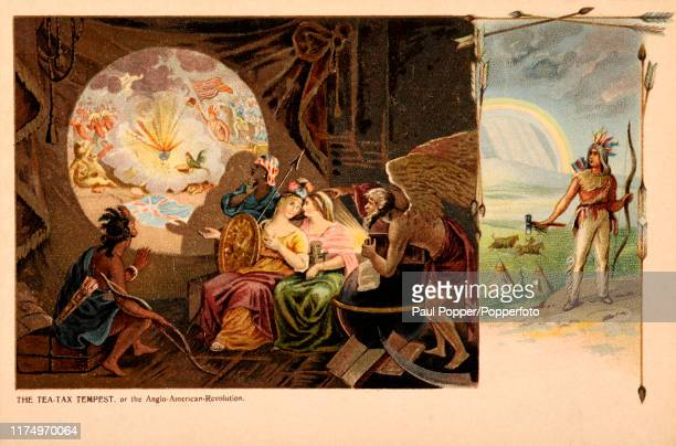 A vintage postcard illustration depicting the TeaTax Tempest during the American Revolutionary War including American Indians and allegorical figures...
