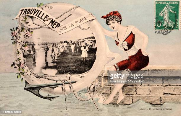 Vintage postcard illustration featuring a bathing beauty holding a lifebuoy frame of a photograph of people enjoying the beach at Trouville-sur-Mer...