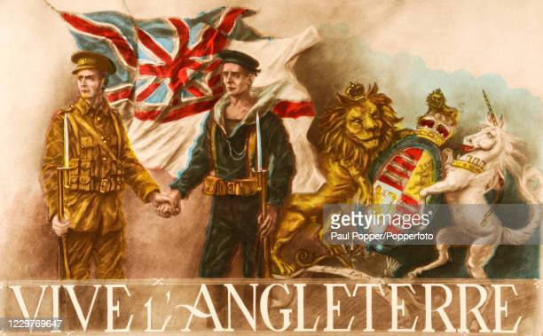 A vintage postcard illustration featuring a British soldier and sailor Vive l'Angleterre during World War One published in Paris circa 1915