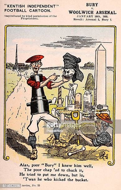 A vintage postcard illustration featuring a cartoon character known as Red Shirt representing Woolwich Arsenal FC burying the skull of Bury FC in a...