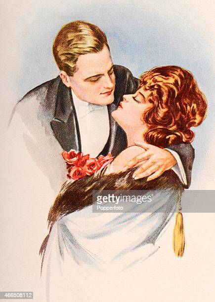 A vintage postcard illustration featuring a couple dressed in evening wear in an embrace circa 1910