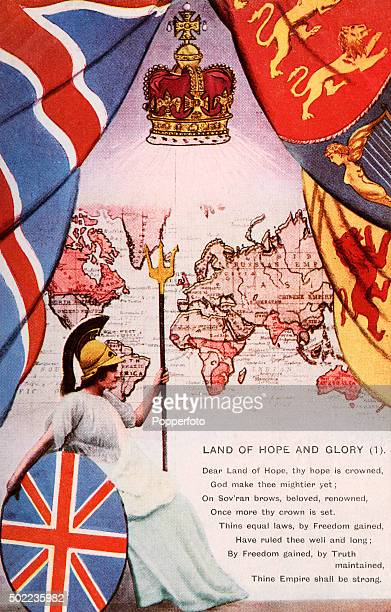 A vintage postcard illustration featuring a helmeted Britannia holding a shield and trident with flags and a crown superimposed on a map of the world...