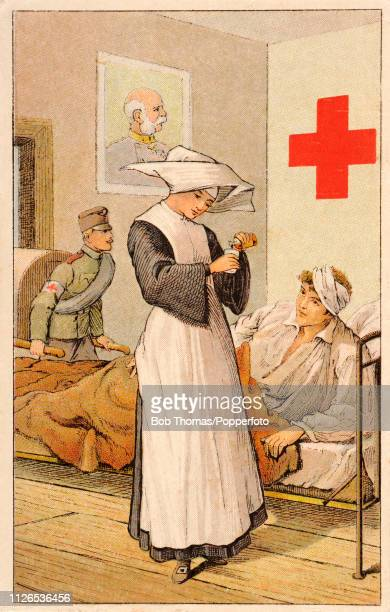 A vintage postcard illustration featuring a Red Cross nurse giving medication to a wounded soldier at a German army hospital in Berlin circa 1916
