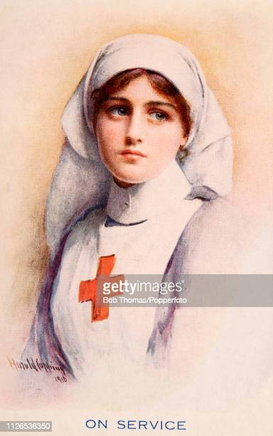A vintage postcard illustration featuring a Red Cross nurse on service during World War One circa 1915