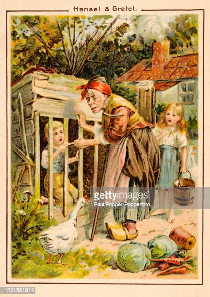 Vintage postcard illustration featuring a scene from Hansel and Gretel involving the wicked witch, a fairy tale written by the Brothers Grimm,...