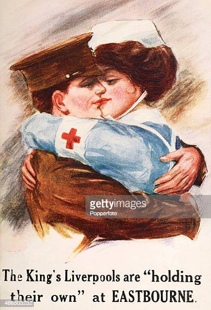A vintage postcard illustration featuring a soldier embracing a Red Cross nurse during World War One circa 1916