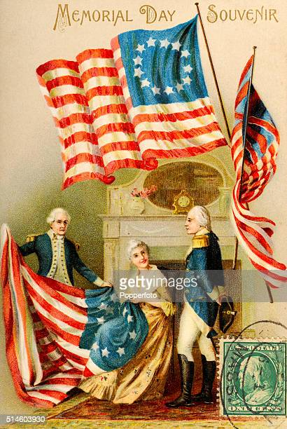 A vintage postcard illustration featuring a souvenir of Memorial Day in the United States with President George Washington observing Betsy Ross...