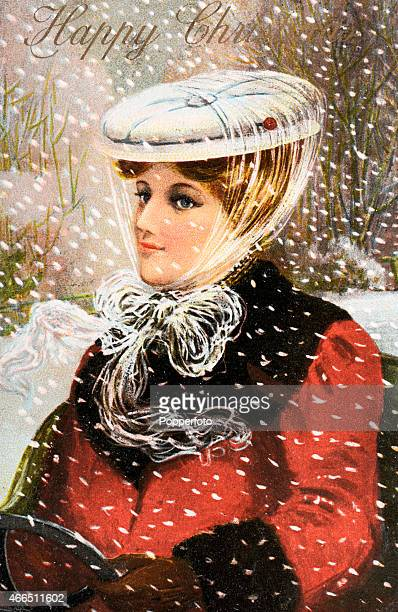 A vintage postcard illustration featuring a stylish lady in outdoor wear during a snowstorm with Christmas greetings circa 1910