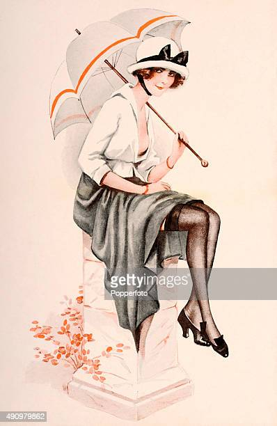 A vintage postcard illustration featuring a stylish young woman perched on a plinth holding an umbrella and showing a bit of leg above black...